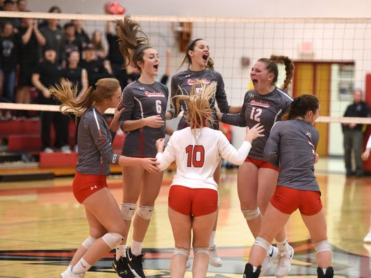 Riverheads players celebrate beating Middlesex in the Class 1 state quarterfinals Saturday, November 16.