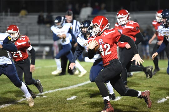 Riverheads freshman Luke Bryant has a big run against Rappahannock County Friday night in the Region 1B playoffs.