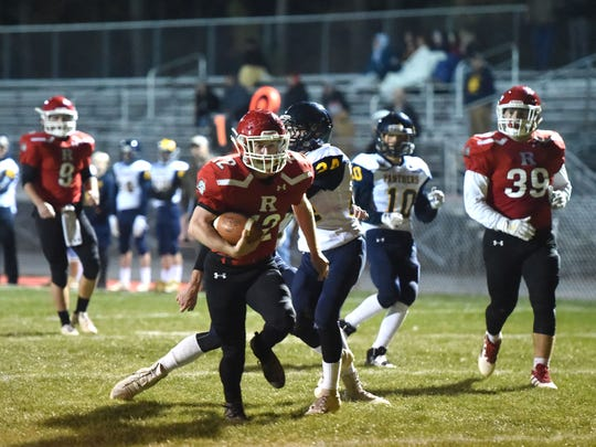 Cy Cox scores on a 23-yard run in the first quarter Friday night. Riverheads beat Rappahannock County 45-0.