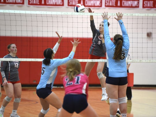 Abbey Eavers goes up for an attack in Riverheads Class 1 state quarterfinal win over Middlesex Saturday, November 16.