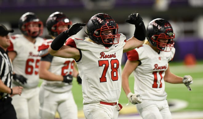ROCORI senior Jake Stauber celebrates a fumble recovery in the Class 4A state semifinals against Winona Friday, Nov. 15, 2019, at U.S. Bank Stadium.