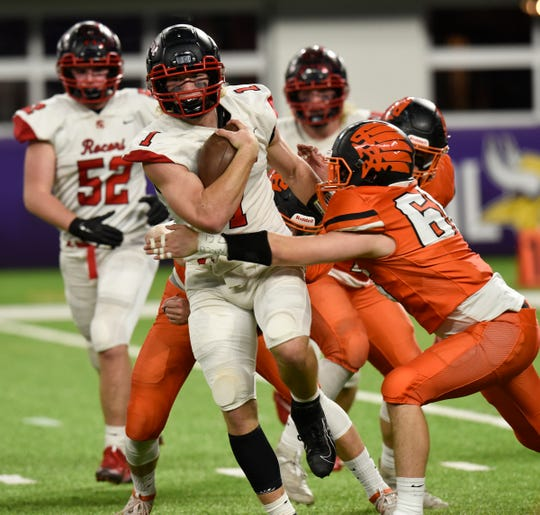 ROCORI quarterback Jack Steil carries the ball in the Class 4A state semifinals against Winona Friday, Nov. 15, 2019, at U.S. Bank Stadium.