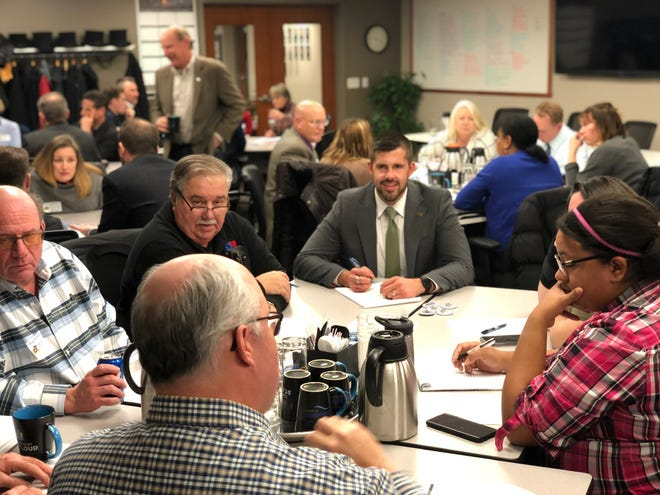 State Rep. Dan Wolgamott, D-St. Cloud, joins community stakeholders to discuss extending Northstar train service to St. Cloud on Wednesday, Nov. 13, 2019, at the St. Cloud Area Chamber of Commerce.