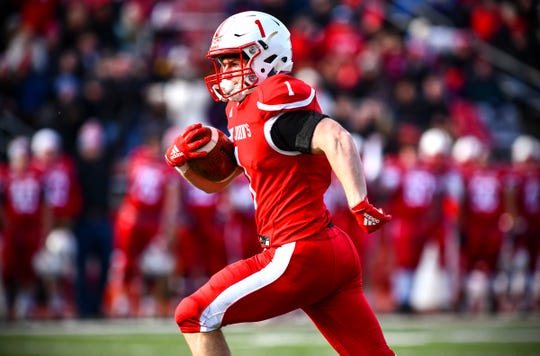 Matt Mohr of St. John's scores a touchdown during the first half of the Saturday, Nov. 16, 2019, game at Clemens Stadium in Collegeville.
