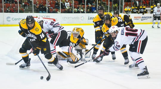 Connor Mayer of Colorado College gets control of the puck in front of his goalduring the first period of the Friday, Nov. 15, 2019, game against St Cloud State at the Herb Brooks National Hockey Center in St. Cloud.