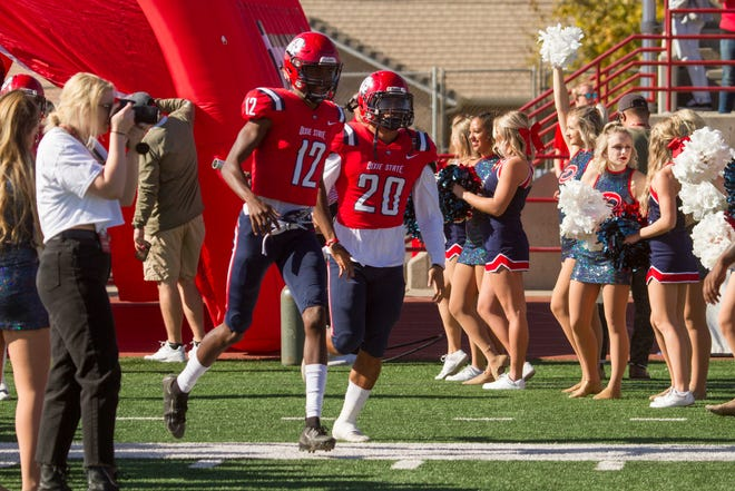 Dixie State receiver Deven Osborne (12) enters the spring season as one of the focal points for the Trailblazer offense.