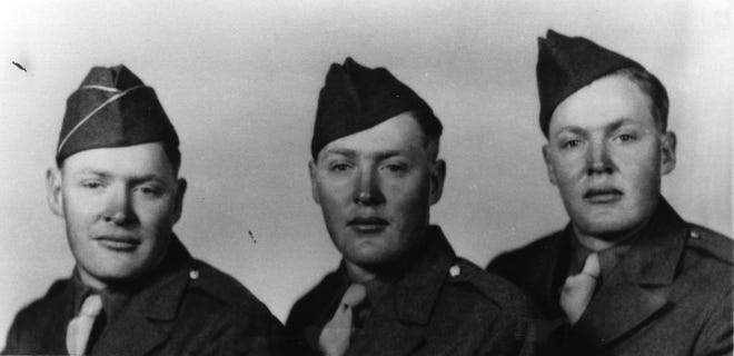 Willard, William and Willis Jensen are photographed after enlistment in the U.S. Army during World War II. Photo is from the Jensen Family Archives.