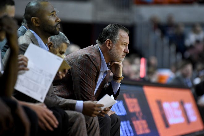 Cal State Northridge head coach Mark Gottfried watches during the first half of the team's NCAA college basketball game against Auburn on Friday, Nov. 15, 2019, in Auburn, Ala. (AP Photo/Julie Bennett)
