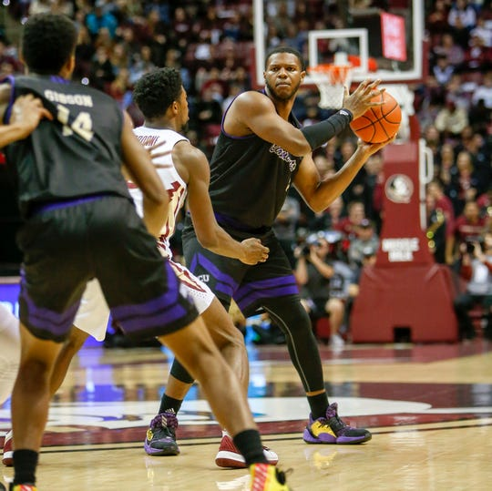 Nov 15, 2019; Tallahassee, FL, USA; Florida State Seminoles guard Nathanael Jack (11) controls the ball against the Western Carolina Catamounts during the first half of play at Donald L. Tucker Center. Mandatory Credit: Glenn Beil-USA TODAY Sports
