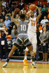 UTEP's Daryl Edwards takes a shot against Eastern New Mexico during the game Friday, Nov. 15, at the Don Haskins Center in El Paso.