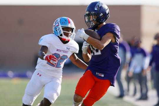 Eastlake's Matthew Jones completes a pass near the end zone in the fourth quarter against Lubbock Monterey in Class 5A, Division I playoff game Saturday, Nov. 16, at the SISD Student Activities Center in El Paso.