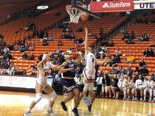 Tia Bradshaw makes a layup during UTEP's win over Alcorn State Saturday