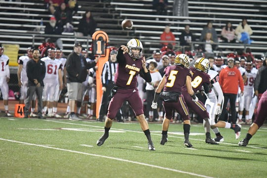 Quarterback Travis Throckmorton and Simi Valley look to take down Orange in a Division 10 semifinal Friday night.