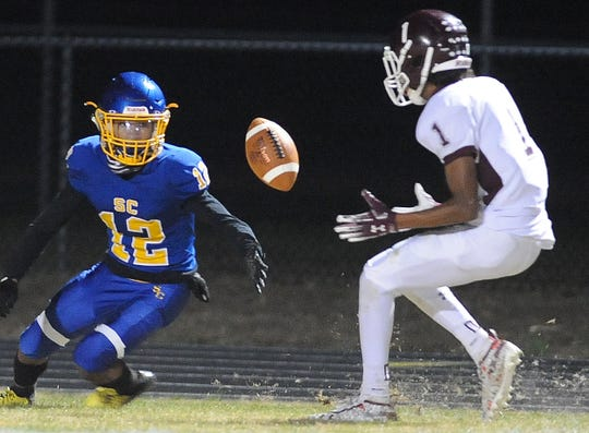 Concord's Symir Brown (1) closes in on one of the three fumbles he recovered against Sussex Central. Brown vote the Delaware Online Athlete of the Week voting for Week 11 of the fall season.