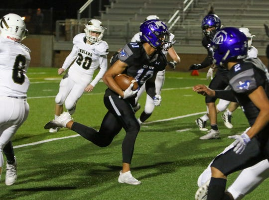 City View's Jayln Marks returns the Comanche kickoff for a large gain Friday, Nov. 15, 2019, in Mineral Wells.