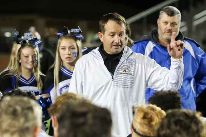 Comanche head football coach Stephen Hermesmeyer congratulates City View for their 27-26 win over the Indians Friday, Nov. 15, 2019, in Mineral Wells.