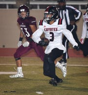 Coyote receiver Tre McKenzie (3) ran the ball down to the 1-yard line on this play against Fort Worth Northside Friday night at Farrington Field.