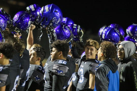 City View celebrates a 27-26 win over Comanche in the Region II-3A Division II bi-district playoff Friday, Nov. 15, 2019, in Mineral Wells.