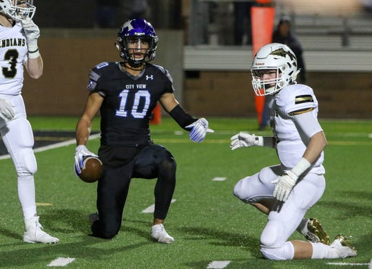 City View's Jayln Marks gets up after being tackled in the game against Comanche Friday, Nov. 15, 2019, in Mineral Wells.