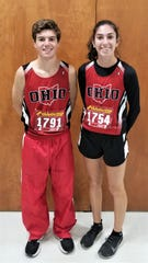 Ryan Meadows, of Tri-Valley, and Savannah Moorehead, from Crooksville, competed for Team Ohio in Saturday's Mid-East Cross Country Championships.