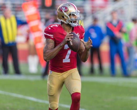 Colin Kaepernick during his last NFL game on Jan. 1, 2017.