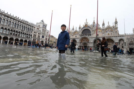 Flooding continued Sunday in Venice, just five days after the city experienced its worst flooding in more than 50 years.