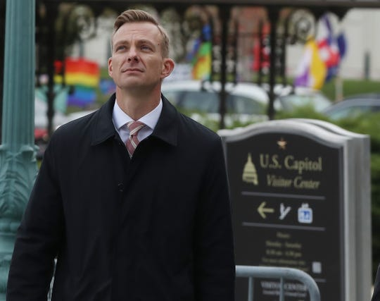 WASHINGTON, DC - NOVEMBER 15: David Holmes, counselor for political affairs at the US Embassy in Ukraine, walks to a closed-door deposition at the U.S. Capitol, on November 15, 2019 in Washington, DC. TodayHolmes Is being deposed as part of the impeachment inquiry against President Trump, led by the House Intelligence, House Foreign Affairs and House Oversight and Reform Committees.  (Photo by Mark Wilson/Getty Images) ORG XMIT: 775438471 ORIG FILE ID: 1187881346