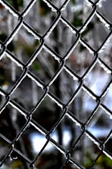 Ice mirrors the pattern and catches the light of chain link on a fence in central Abilene  in Nov. 12.