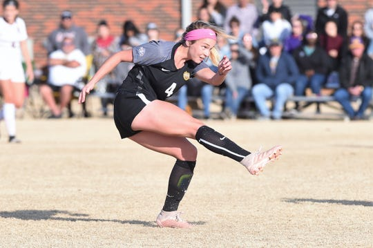 Hardin-Simmons' Casady Jenkins (4) follows through on a shot against Trinity in the second round of the NCAA Division III women's soccer tournament at the HSU Soccer Complex on Sunday, Nov. 17, 2019.