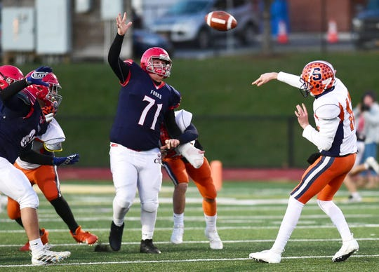 Chenango Fork's Tyler Hayes (71) looks to block a pass during Solvay vs. Chenango Forks, Class B regional football at Vestal Central School District, Saturday, November 16, 2019.