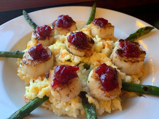 Red Lion Risotto with Scallops,, Asparagus and Cranberries.