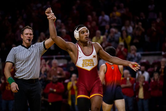 Iowa State's Marcus Coleman wins his match against Bucknell's Frankie Guida at 174 during the Cyclone's first dual of the season on Sunday, Nov. 17, 2019, in Hilton Coliseum.