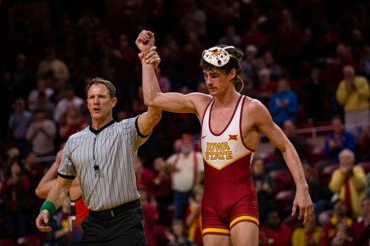 Iowa State's Jarrett Degen wins his match against Bucknell's Matthew Kolonia at 149 during the Cyclone's first dual of the season on Sunday, Nov. 17, 2019, in Hilton Coliseum.