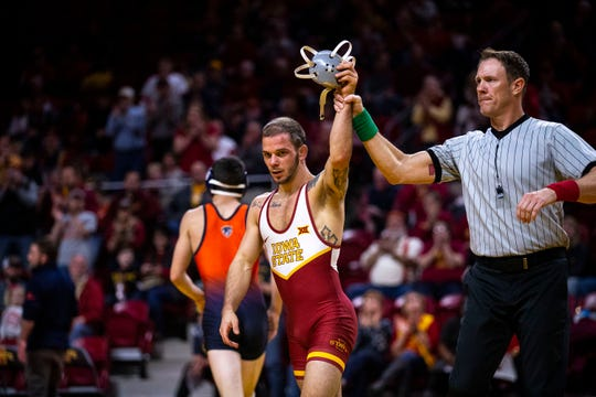 Iowa State's Alex Mackall wins his match against Bucknell's Brandon Seidman at 125 during the Cyclone's first dual of the season on Sunday, Nov. 17, 2019, in Hilton Coliseum.