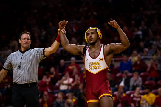 Iowa State's Sam Colbray wins his match against Bucknell's Brandon Stokes at 184 during the Cyclone's first dual of the season on Sunday, Nov. 17, 2019, in Hilton Coliseum.