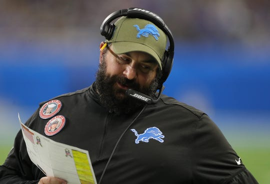 Matt Patricia during the second half of the Lions' 35-27 loss.