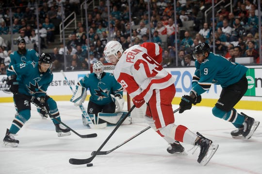 Red Wings left wing Brendan Perlini skates against the Sharks during the second period of the Wings' 4-3 loss in San Jose, California, on Saturday, Nov. 16, 2019.