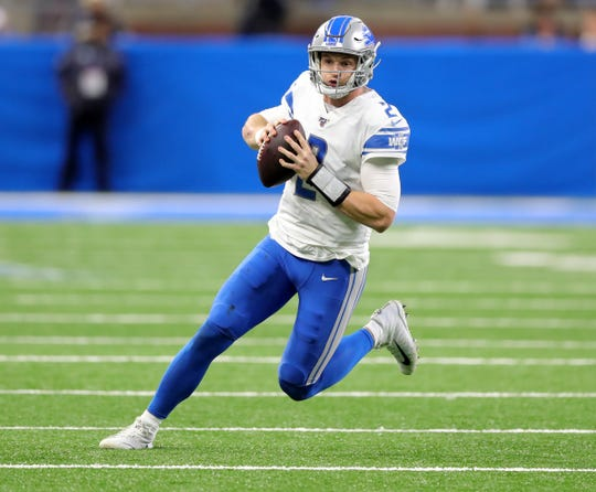 Jeff Driskel with the ball Sunday against Dallas.