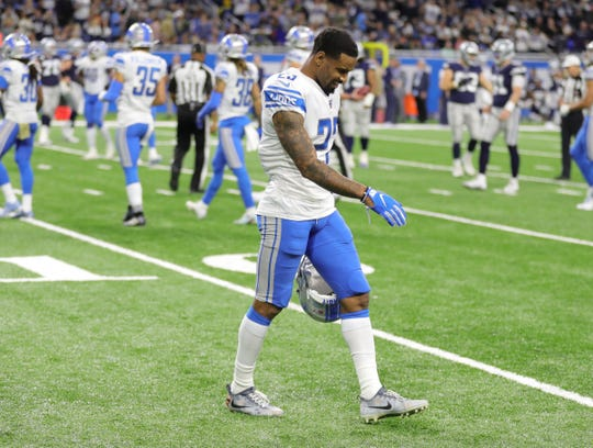 Lions cornerback Darius Slay walks off the field after a Dallas Cowboys touchdown during the Lions' 35-27 loss on Sunday, Nov. 17, 2019, at Ford Field.