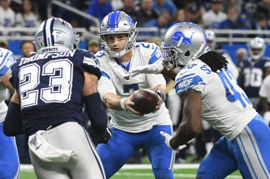 Lions quarterback Jeff Driskel and running back Bo Scarbrough each scored a rushing touchdown in Sunday's loss to the Cowboys.