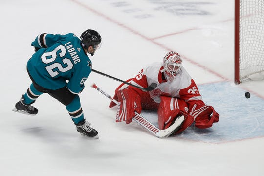 San Jose Sharks right wing Kevin Labanc (62) scores past Detroit Red Wings goaltender Jimmy Howard in the shootout.