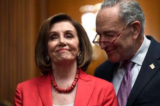 House Speaker Nancy Pelosi of Calif., left, and Senate Minority Leader Sen. Chuck Schumer of N.Y.