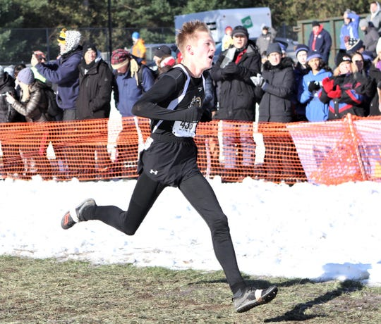 Windsor's Josh Stone takes second in the Class B boys race at the state championship meet Nov. 16, 2019 at SUNY Plattsburgh.