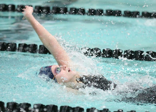 Bay Port High School's Emma Lasecki swims in the 200-yard individual medley Saturday, November 16, 2019, in the girls Division 1 WIAA state swimming meet in Madison, Wis.