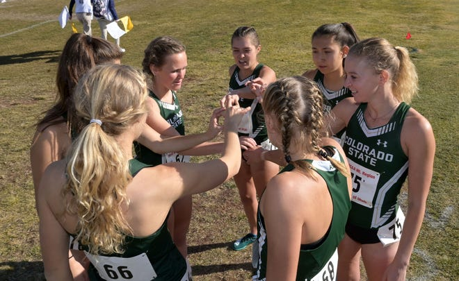 Nov 15, 2019; Salt Lake City, UT, USA; Members of the Colorado State women's team huddle during the NCAA Mountain Region Cross Country Championships at Rose Park Golf Course. Mandatory Credit: Kirby Lee-USA TODAY Sports