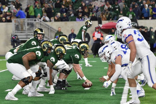 Quarterback Patrick O'Brien and the Colorado State football team line up against Air Force's defense during a Nov. 16 game at Canvas Stadium. O'Brien and CSU will wrap up the 2019 season at home Friday against No. 20 Boise State.