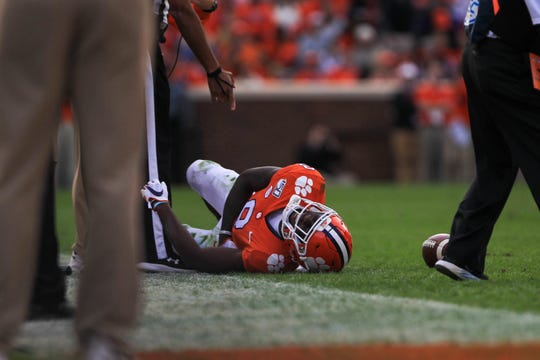 Clemson wide receiver Justyn Ross (8) was injured in the Tigers' last home game of the season against Wake Forest at Memorial Stadium in Clemson, Saturday, November 16, 2019.