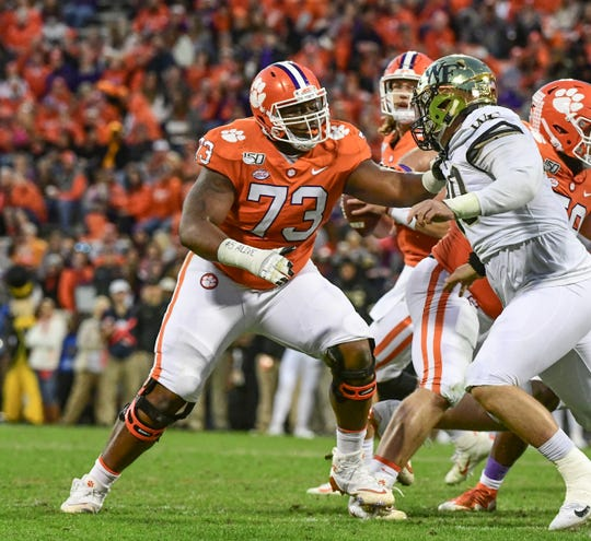 Clemson offensive lineman Tremayne Anchrum (73) blocks against Wake Forest during the fourth quarter at Memorial Stadium in Clemson, South Carolina Saturday, November 16, 2019.