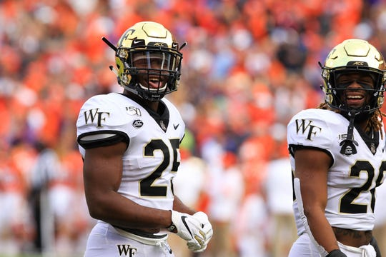 Wake Forest players during Clemson's last home game of the season, Saturday, Nov. 16, 2019.