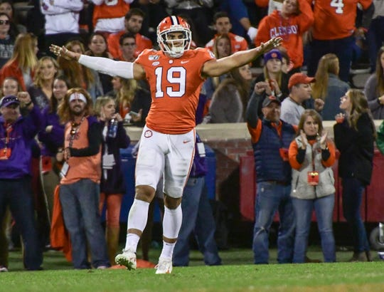 Clemson defensive back Tanner Muse (19) celebrates a tackle against Wake Forest during the fourth quarter at Memorial Stadium in Clemson, South Carolina Saturday, November 16, 2019.